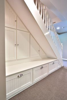 There are countless ways to use the space under your staircase, but this time we used it to create some custom cabinetry for storage.