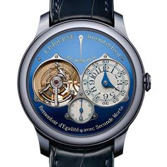Another winner from FP Journe. A unique Tourbillon Souverain with Remontoire d'Egalite, in a Tantalum case and bleu dial, made for Only Watch 2015