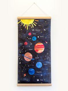 Diy space room nestling - the design files australia's most popular de Solar System Painting, Solar System Room, Solar System Poster, Solar System Projects, Wood Branding, Rooms Ideas, The Design Files, Art Lessons, Illustrators
