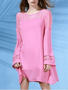 Lace Splice Round Neck Long Sleeves Dress - PINK M