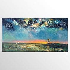 Custom Extra Large Wall Art, Sail Boat under Starry Night Sky Painting, Landscape Oil Painting, Palette Knife Artwork, Large Canvas Painting Hand Painting Art, Large Painting, Texture Painting, Oil Painting On Canvas, Painting Trees, Abstract Landscape Painting, Abstract Canvas Art, Landscape Paintings, Landscape Art