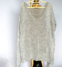 Sheer Knit Top, Gray V Neck Mohair Sweater, Oversized with Long Sleeves, Loose Knitted Tunic, Unisex Sweater, Grunge Gift, Unique Outfits