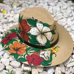Painted Hats, Mexico, Homemade, Painting, Women, Beachwear Fashion, Cold Desserts, Canvas Art, Buttons