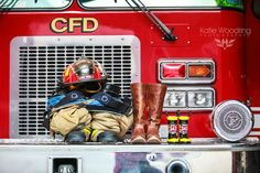 """We could do mine & his turnouts then some little fire boots with a sign saying """"new recruit due Jan. Firefighter Pregnancy Announcement, Firefighter Baby, Baby Boy Announcement, Pregnancy Announcements, Firefighter Wedding, Newborn Pictures, Maternity Pictures, Pregnancy Photos, Baby Photos"""