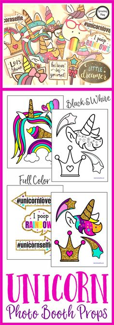 Unicorn Photo Booth Shoot - the Unicorn Photo Booth Props are perfect for any occasion to put smiles on everyone's faces. Who doesn't love unicorns?