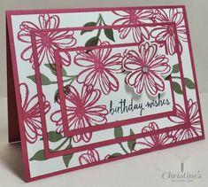 Stampin' Up!; video tutorial; triple time stamping; triple step stamping; flower shop stamp set; bountiful border stamp set; build a birthday stamp set; birthday card; paper crafts; Christine's Stamping Spot