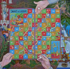 Snakes and Ladders by Luther Pokrant RCA, MSA: oil on canvas (27x27 in) 2011. http://www.mayberryfineart.com/artwork/AW24842