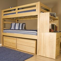 Features:  -Mattress ready with 13 piece slat kit included for top and bottom.  -Material: Solid wood and veneers.  -Twin over twin design with handy storage solutions.  -Top and lower bunk each offer
