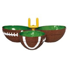 This plastic Football Condiment Dish has 3 connected bowls shaped like footballs. At the center of this Football Condiment Dish is a mini goalpost! Football Party Supplies, Football Themes, Football Parties, Nfl Party, Football Food, Football Party Decorations, Female Football, Football Decor, Football Tailgate