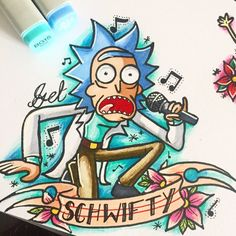 Let's get Schwifty guys Otaku Anime, Rick And Morty Tattoo, Rick And Morty Drawing, Ricky Y Morty, Rick E, Get Schwifty, Illustration, Art Drawings, Nerd