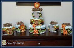 Diaper Cake - Jungle Theme. use wood animals