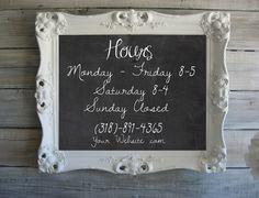 Antique Store Sign, Custom Chalkboard, Beach Cottage Frame, Wedding Chalkboard, Boutique Sign. $289.00, via Etsy.                                                                                                                                                                                 More