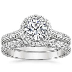 18K White Gold Enchant Halo Matched Set (1 ct. tw.), top view