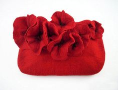 Felted Purse Poppy Bag POISONS Felt handbag nunofelt Nuno felt Silk ruby burgundy red poppy fairy multicolor floral fantasy Fiber Art boho