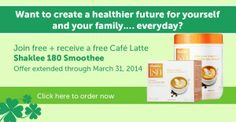 Get healthier with Shaklee. Free membership and free Shaklee180 smoothee during March. Details here: http://amyhagerup.com/join-shaklee-for-free-with-qualifying-order-plus-get-a-bonus/