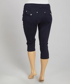Look at this #zulilyfind! Navy Flap-Pocket Capri Pants - Plus by 1826 Jeans #zulilyfinds
