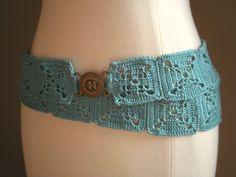 A wonderfully cool accessory, this uber-hipbelt gives crochet a new swagger. A bright Caribbean blue yarn and traditional square motifs get along perfectly in this fashion-brilliant belt. I love h…
