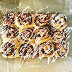 Homemade Chelsea Buns - Feasting Is Fun Chelsea Bun Recipe, British Baking Show Recipes, Sweet Pastries, Breakfast Bake, Baking Cupcakes, Dessert Recipes, Desserts, No Bake Cake, Buns