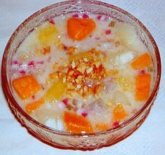 Borbo Skor La Pov (Cambodian Coconut milk tapioca pudding with various yams and pumpkin) - sooo yummy! lots of tapioca <3 - you can make this with any kinda of sweet potato, yam, pumpkin, or combination of any.  You can also make the coconut milk tapioca pudding separately and puree the veggies or pumpkin separately and layer the pudding and purees in a parfait <3  I like sweetening it with honey rather than cane sugar