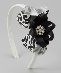 Take a look at this White & Black Damask Bow Headband by Mud Pie on #zulily today!
