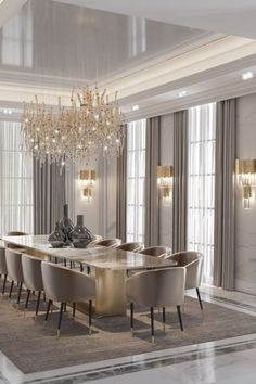 Luxury Dining Tables, Luxury Dining Room, Dining Room Design, Interior Design Living Room, Classic Dining Room, Dining Room Modern, Contemporary Kitchen Cabinets, Modern Classic, Classic Style