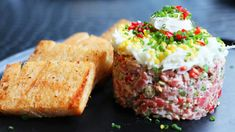 STK's take on this classic dish brings quality beef from Ontario to the forefront of this salty and creamy tartare with truffle toast to finish. Awesome Food, Good Food, Tartare Recipe, Fresno Chili, Beef Filet, Steak Tartare, Truffle Butter, Brioche Bread, Quail Eggs