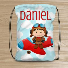 82abbfa7d7b Personalized Drawstring Backpack for Kids - Pilot Backpack for Boys -  Fabric Bag with Plane - Pilot