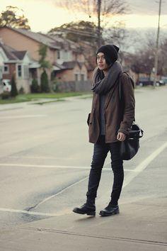 Wasted Youth Beanie, Adrian Wu Wool Scarf, Zara Jacket, Zara Pants, Dr. Martens Boots, Prada Bag