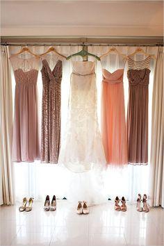 Peach and gold bridal party dress ideas. @weddingchicks