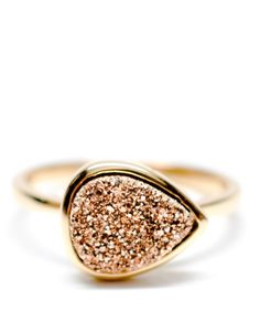 Drusy Drop Ring in Rose Gold