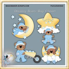 Dreamy Bears Boy Clipart. This clipart can be used for Commercial Use (CU), Personal Use (PU), and Scraps for Hire/Others (S4H/O). Available at http://magicmaker-scraps.com/ for $1