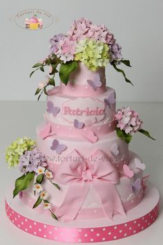 Baptism cake with hydrangeas
