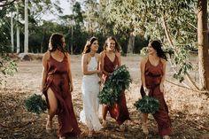 spaghetti strap boho bridesmaid dress with slit dress bridesmaid dresses Fall Bridesmaid Dresses, Wedding Bridesmaids, Wedding Dresses, Wedding Attire, Autumn Wedding, Boho Wedding, Wedding Fun, Rustic Wedding, Wedding Stuff