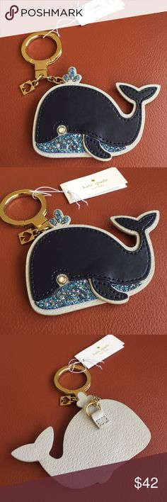 Kate Spade Whale Keychain Leather whale with glitter and crystal details Gold tone hardware kate spade Accessories Key & Card Holders