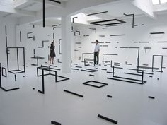 black and white installation, in 2D and 3D by Esther Stocker
