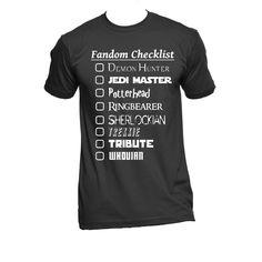 Potterhead, Trekkie, Sherlock, Supernatural, Dr Who Fandom Checkist American Apparel Unisex Shirt by NerdGirlTees on Etsy https://www.etsy.com/listing/209642213/potterhead-trekkie-sherlock-supernatural