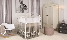 This playful nursery, with the vintage iron crib as the focus, is totally on point. The mid century rocker has a modern feeling while the linen bedding is elegantly relaxed. Love the oversize bunny! Nursery Room, Baby Room, Iron Crib, Bedroom Design Inspiration, Baby Furniture, Furniture Collection, Linen Bedding, Shabby, Vintage Iron