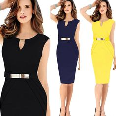 Women V Neck Bodycon Tunic Office Formal Cocktail Party Evening Pencil Dress