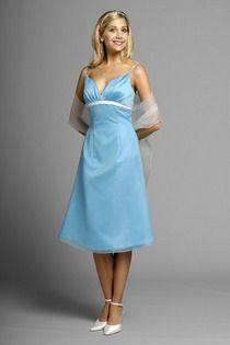 2011 Collection Blue Spaghetti Straps A-line  Bridesmaid Dresses Under 100
