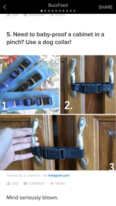 Need to baby-proof a cabinet in a pinch? Use a dog collar! 20 Surprisingly Useful New Baby Hacks Every New Parent Is Going To Want To See Lifehacks, Toddler Proofing, Baby Proofing Ideas, Baby Life Hacks, Mom Hacks, Future Mom, Childproofing, Everything Baby, Baby Safety