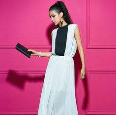 Western Splicing Sleeveless Ankle Length Chiffon Dress Black&White