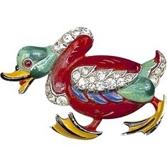 A Rare Alfred Phillipe Trifari Angry Duck Enamel And Rhinestone Brooch Pin, Book Piece