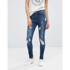 Cheap Monday Second Skin Skinny Jeans 30 (255 AED) ❤ liked on Polyvore featuring jeans, blue, skinny jeans, high-waisted jeans, skinny fit jeans, distressed jeans and ripped jeans