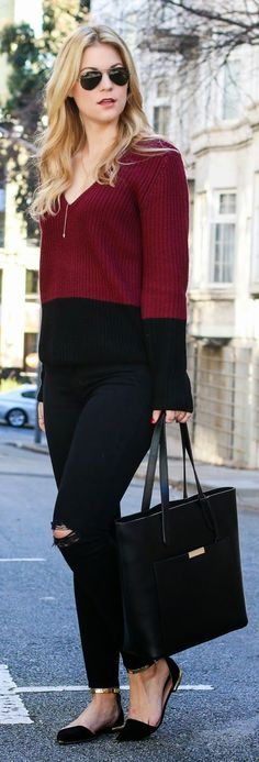 Burgundy And Black Color Blocking Outfit