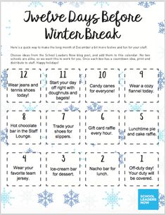 Keep staff morale at an all-time high with this School Holiday Countdown where there's something for everyone! Teacher Morale, Staff Morale, School Staff, School Counselor, Staff Motivation, Morale Boosters, School Leadership, Staff Meetings, Instructional Coaching