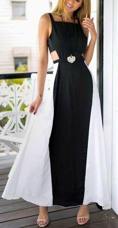 Black and white maxi dress that fits for a queen