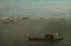 FRANCESCO GUARDI. GONDOLA ON THE LAGOON (GREEN LAGOON). oil on canvas.