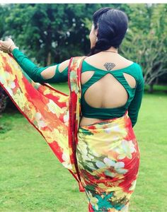 Patch Work Blouse Designs, Blouse Back Neck Designs, Fancy Blouse Designs, Saree Blouse Patterns, Saree Blouse Designs, Blouse Models, Most Beautiful Indian Actress, Backless, Blouses