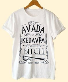 avada kedavra bitch harry potter clothing T Shirt Mens and T Shirt Girls customized on Etsy, CHF 15.06