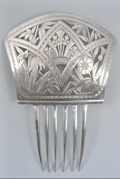 "Victorian Sterling Silver ""K"" High Back Hair Comb"